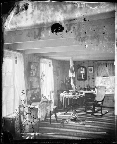 Interior of Perry Lutheran Church Parsonage, ca. 1877. Photograph by Andreas Larsen Dahl. WHi-27217.