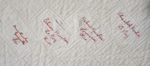 Signature quilt, Hinkes family, possibly LeRoy, Dodge County, 1892-1897