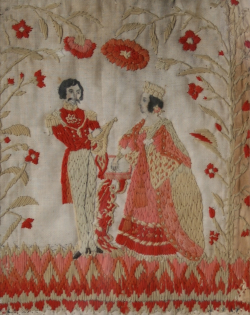Needlework picture attributed to Susan Schnee, Platteville, ca. 1840.